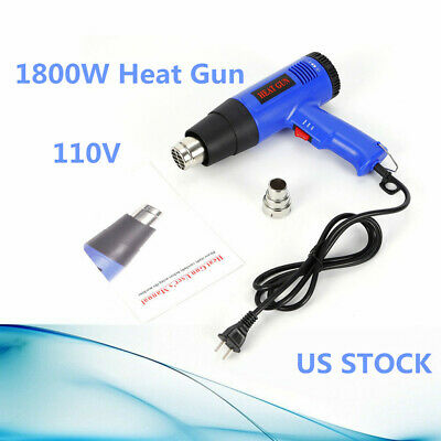 1800 Watt Electric Industrial Heat Shrink Tubing Gun Kit Hot Air Gun Heat Gun