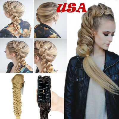 Best Hair Extension Natural As Human Jaw Ponytail Long Braid Real Thick Women