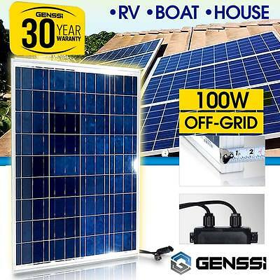 100W Solar Panel 12V DC Works Skiff Marine RV Off-Grid Battery Charger GENSSI®
