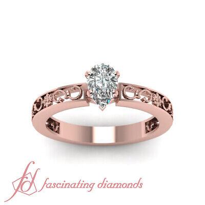 1/2 Carat Pear Shaped Diamond Vintage Inspired Rose Gold Wedding Rings Set GIA 1