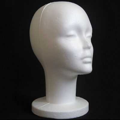 Female Styrofoam Mannequin Manikin Head Model Foam Wig Hair Glasses Display Whit
