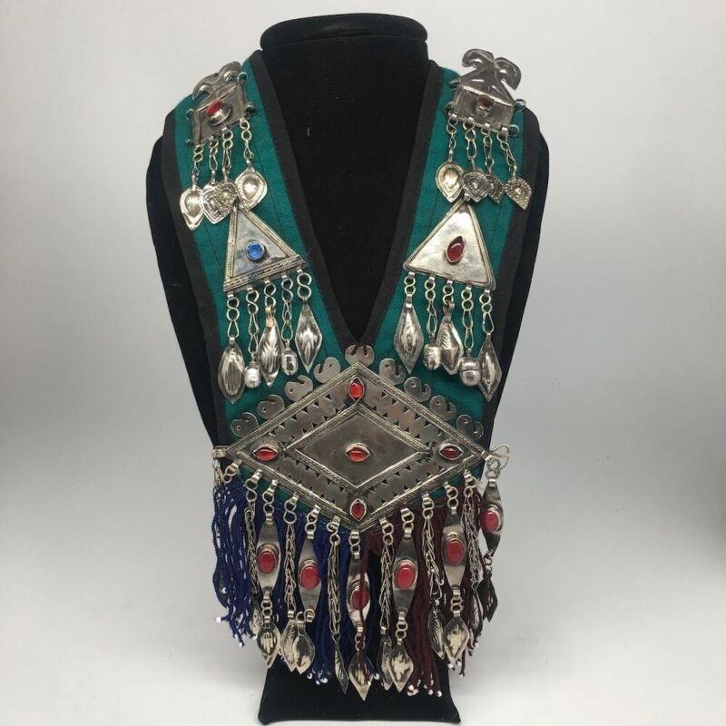 Vintage Turkmen Choker Necklace Pendant on Hand Sawn Soft Fabric Handmade,TN228