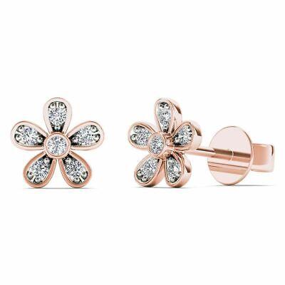 10Kt Rose Gold 0.05 Ct Genuine Natural Diamond Flower Stud Earrings Gold 0.05 Ct Natural