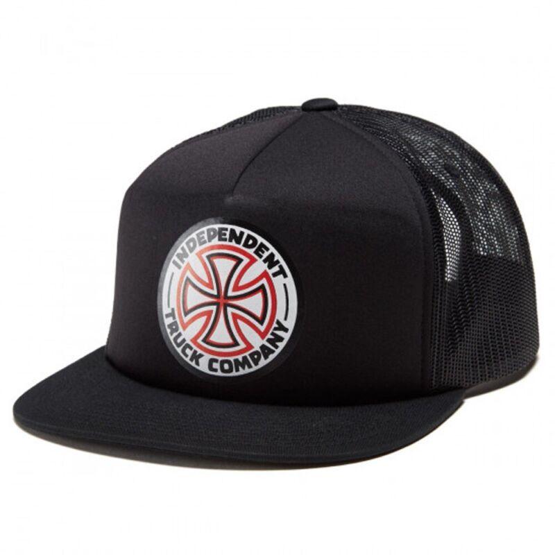 Independent Trucks RED/WHITE CROSS MESH HIGH PROFILE Snapback Trucker Hat BLACK