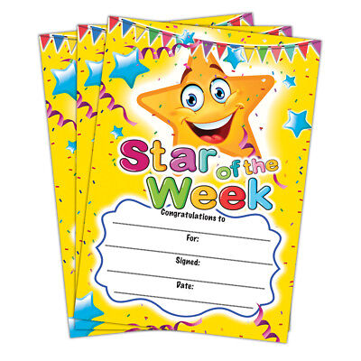Star of the Week Certificate | A6 Pack of 20 | Ideal for Nurseries Kids - Star Of The Week