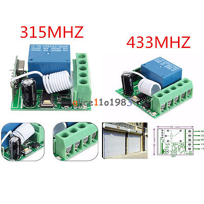 315433mhz 1 Channel Wireless Relay Rf Remote Control Switch Receiver Dc12v 10a