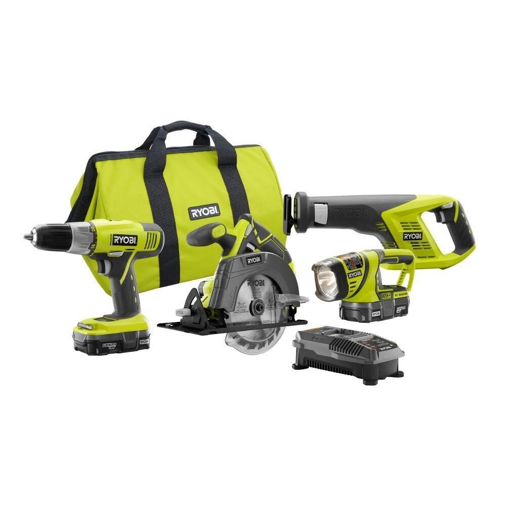 Ryobi 18-Volt ONE Lithium-ion 4-Tool Super Combo Kit P883