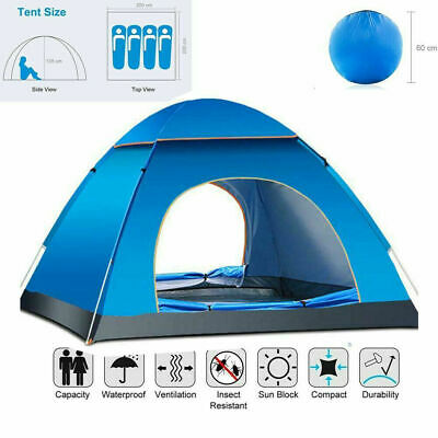Large Pop Up Tent Automatic 3-4 Man Person Family Tent Camping Festival Shelter