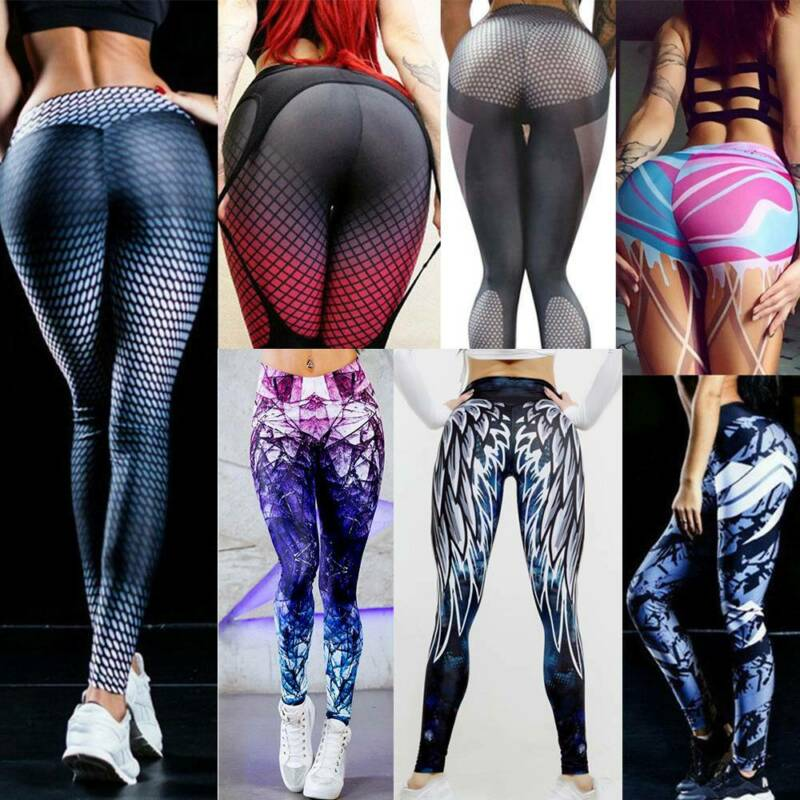 Women High Waist Sports Yoga Pants Leggings Printed Fitness Gym Stretch Trousers 2