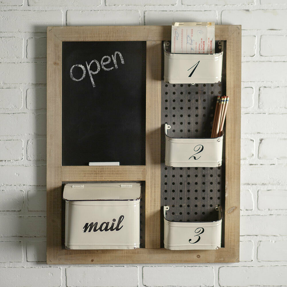 Wall Mail organizer and Chalkboard in rustic wood and metal