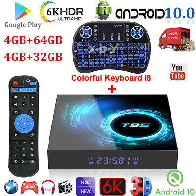 T95 Android 10.0 4+64G 6K UHD TV BOX Keyboard 2.4G WIFI H.26