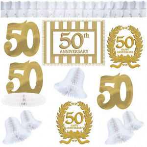12 piece gold golden 50th anniversary party decorating kit for 50th birthday decoration packs