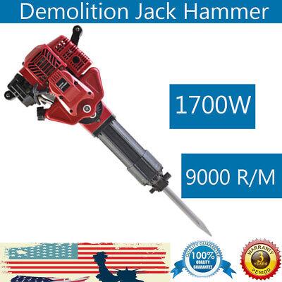 1700w Demolition Jack Hammer Gas Powered Concrete Breaker Punch 2 Chisel Bit Usa