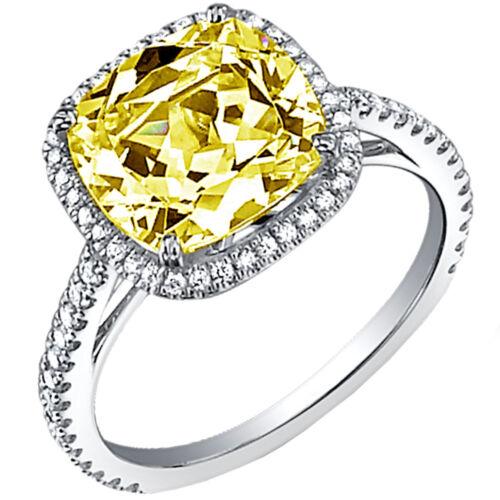 GIA Certified Cushion Cut Diamond Engagement Ring 5.50 Ct. Fancy Yellow Platinum