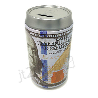 "Tin Money Piggy Bank Can Savings 7.5"" Franklin Coin Jar Saver Great For Kids!"