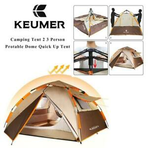 NEW KEUMER Camping Tent 2 3 Person - Protable Dome Quick Up Tent, Automatic Instant Tent (Brown) Condtion: New