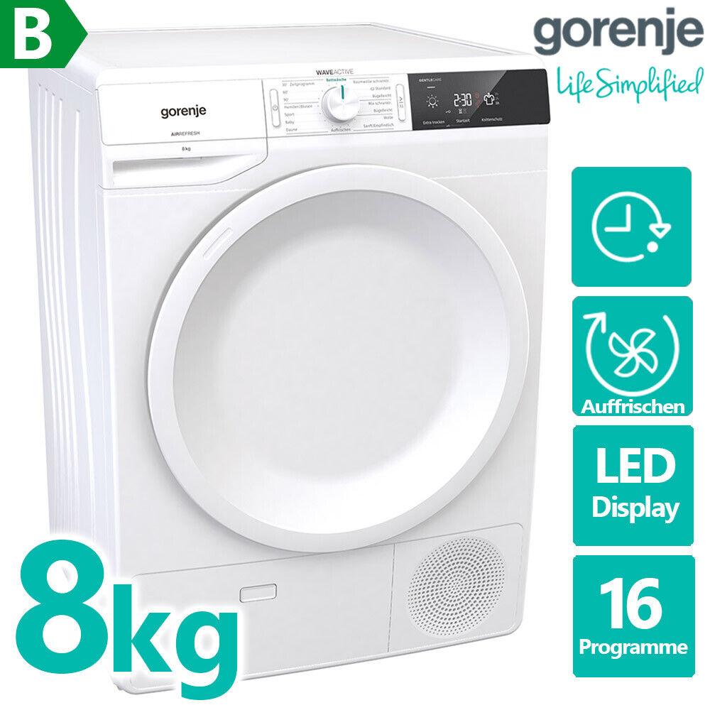 Gorenje 8kg Kondenstrockner Wäschetrockner Trockner EEK B Wolle LED Display 60cm