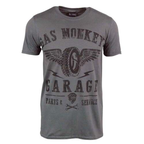 Official Mens Gas Monkey Garage Tyre T Shirt Grey NEW
