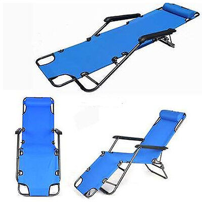 Outdoor Reclining Chaise Lounge Bed Chair Pool Patio Camping Cot Portable Relax