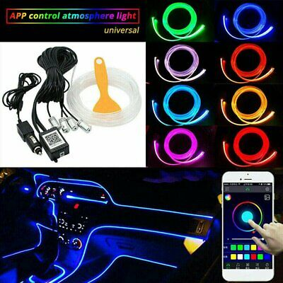 RGB LED Car Fiber Optic Interior Lamp Decor Ambient Light Strips App Control New