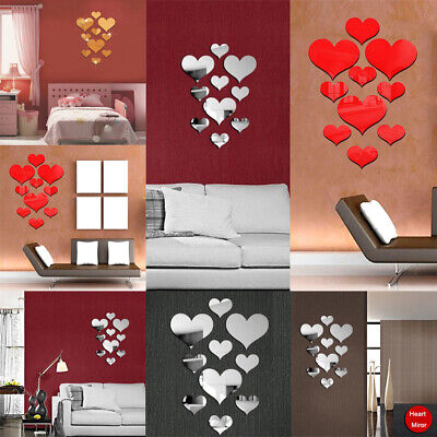10pcs Acrylic 3D Mirror Heart Tiles Wall Stickers Home Removable DIY Adhesive (Acrylic Mirror Tiles)