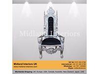 NEW Lion King Queen Wedding Throne Chair - Silver & Black (150cm)