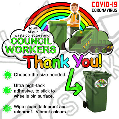 THANK YOU BIN MAN sticker wheelie bin men waste collector rainbow virus lockdown