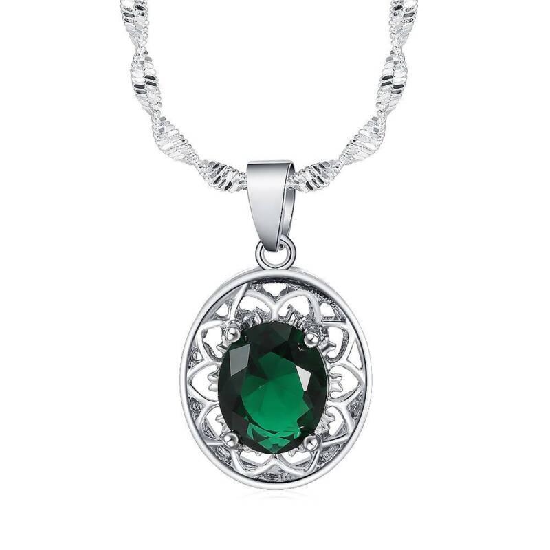 Women Jewelry Set Silver Necklace Earrings Ring Gift