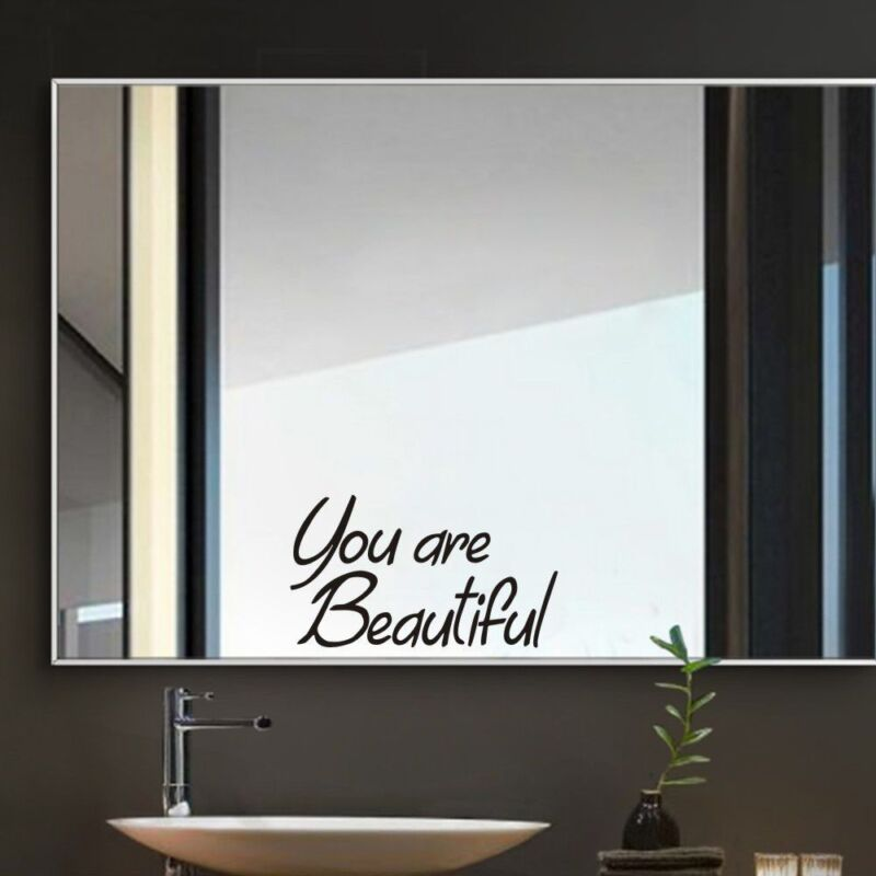 you are beautiful mirror sticker wall stickers wall art quotes