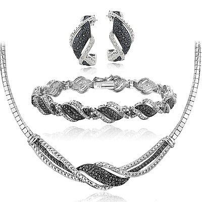0.75Ct Black & White Diamond Twist Necklace Bracelet Earrings Set in Brass