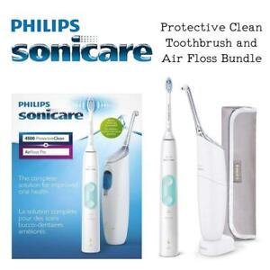 NEW Philips Sonicare Protective Clean Toothbrush and Air Floss Bundle - HX6827/11 and HX8331/01 Amazon Exclusive Cond...