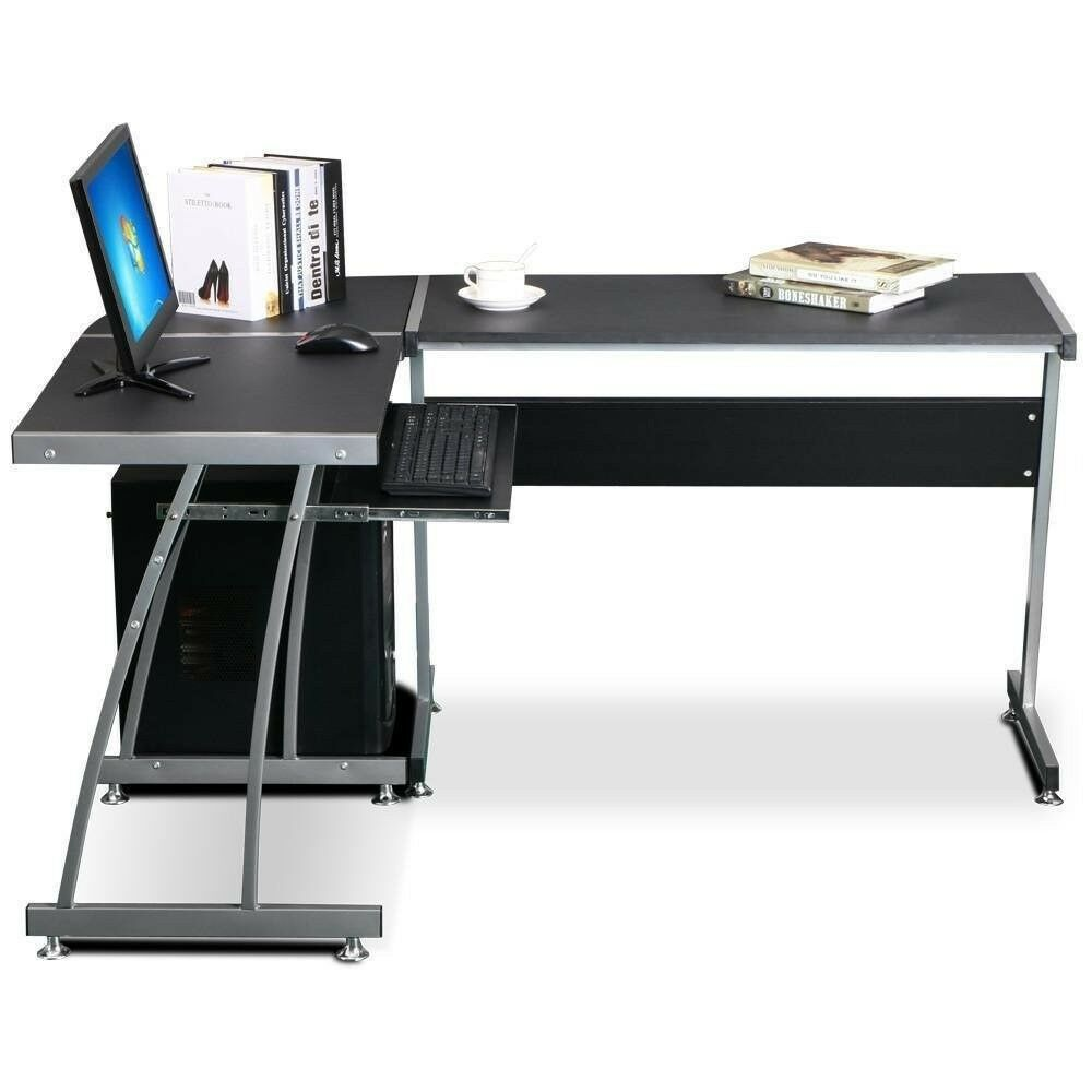 L Shape Round Corner Computer Desk Pc Table Workstation For Home Or Office Smoke