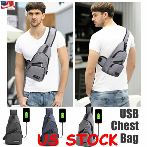 Chest Pack Bag Crossbody Shoulder Bags Travel USB Charging F