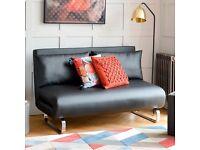 Dwell - Stylus faux leather sofa bed/futon black - Rrp £649
