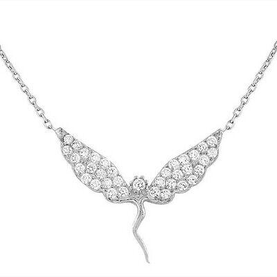 Plata de Ley Fairy Abalorio Niña Cristales Blancos Colgante con Circonita Collar