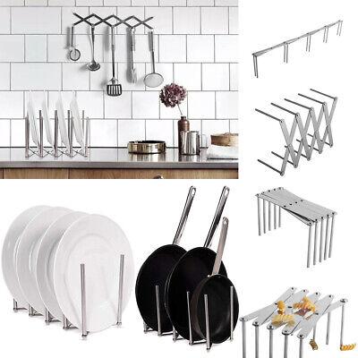 Pot Pan Rack Organizer Kitchen Cabinet Holder Stainless Steel Storage -