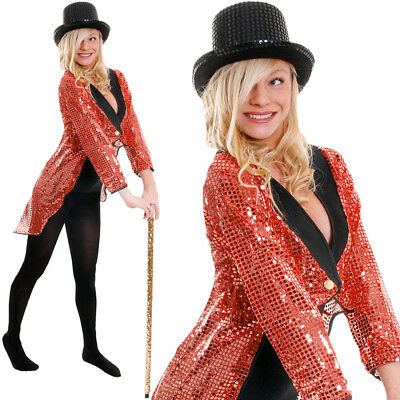Ringmaster Dance Costume (RED SEQUIN TAILCOAT UNISEX CABARET FANCY DRESS CIRCUS RINGMASTER DANCE)