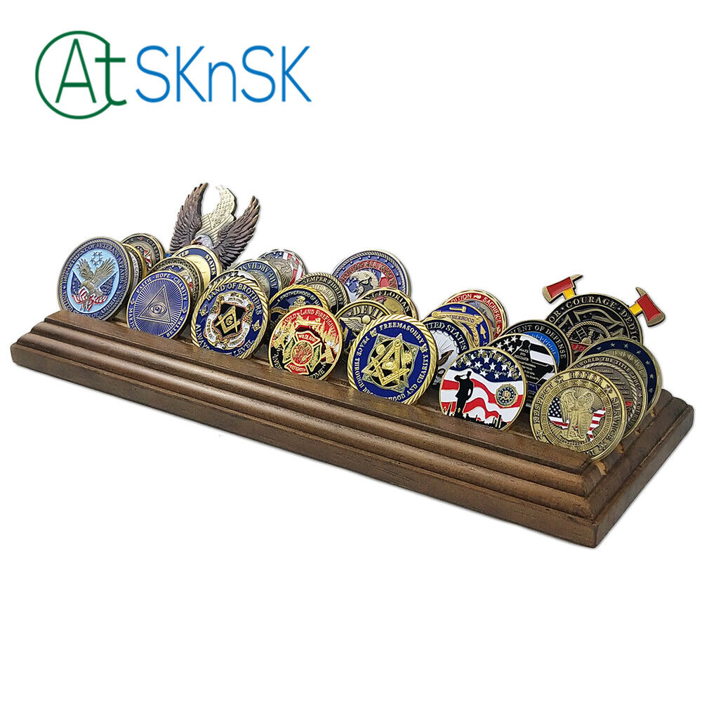 4 Rows, Small AtSKnSK Military Challenge Coin Display Holder Stand Wooden