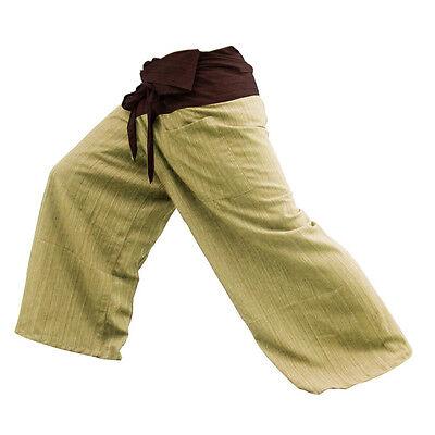 Thai Fisherman Pants Tan Charcoal Yoga Trousers Free Size 100% Cotton Women Men