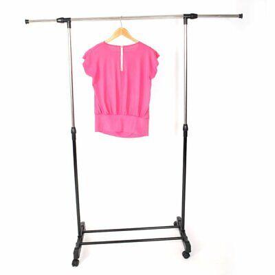 Adjustable Rolling Clothes Rack Single-bar Hanging Garment Heavy Duty Hanger Us