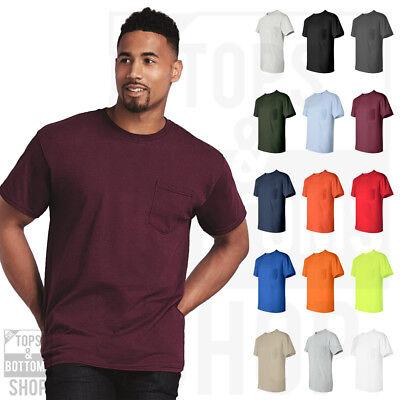 Gildan Mens Ultra Cotton T Shirt with Pocket Tee Crewneck T-Shirt S-5XL - 2300