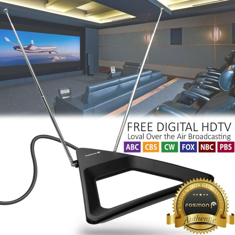 Indoor Rabbit Ear HDTV Antenna Table Wall Adjustable Dipole for 4K TV UHF VHF