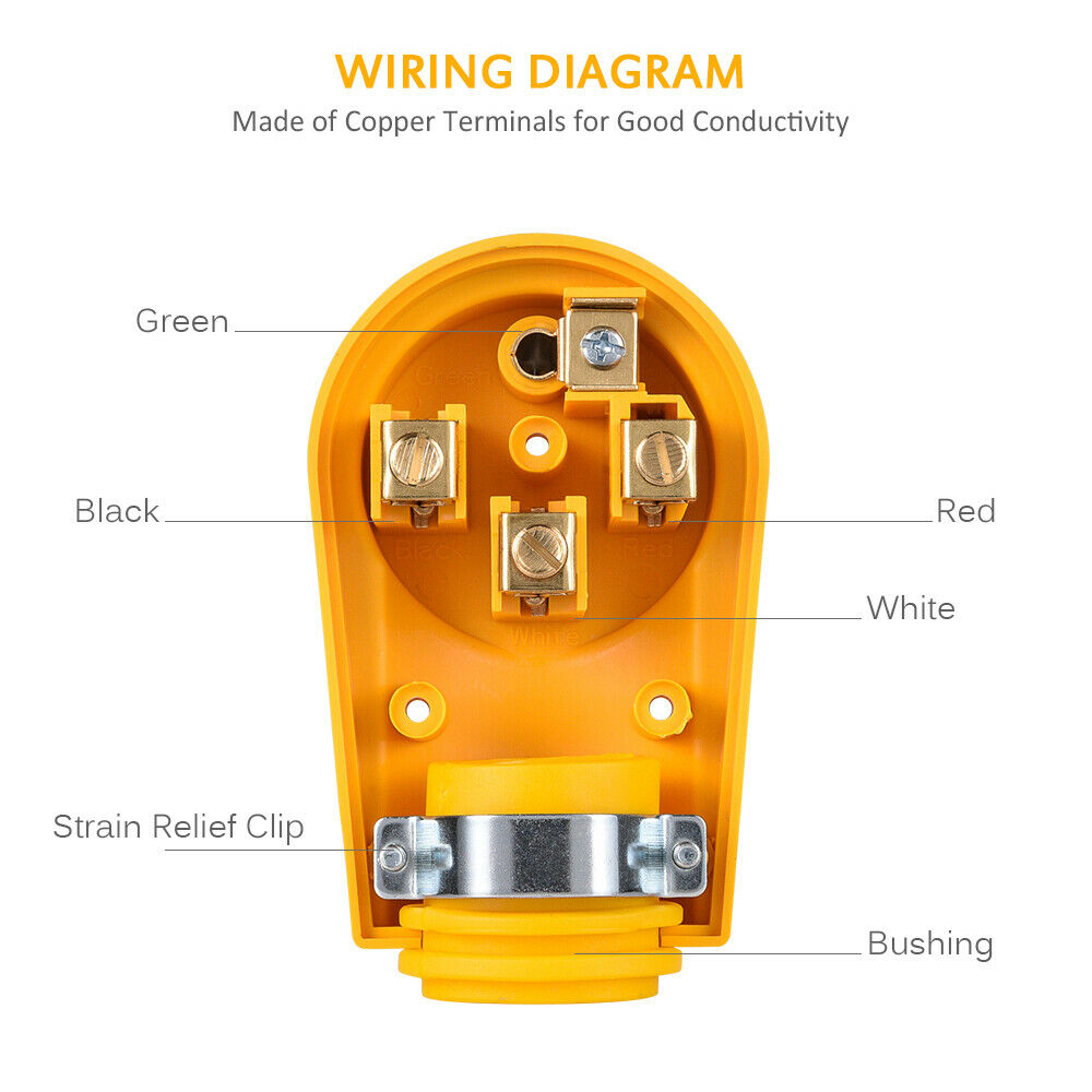 Mictuning 125 250v 50amp Heavy Duty Rv Replacement Male Plug Yellow Wiring Diagram Grip Handle