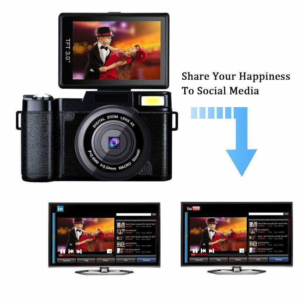 3.0Inch Digital Full HD 1080P Video Camera Flip Screen Vlogging Camera Camcorder