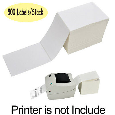 1 Stack 500 Fanfold 4 x 6'' Direct Thermal Blank Shipping Labels For Zebra 2844 Blank Direct Thermal Labels