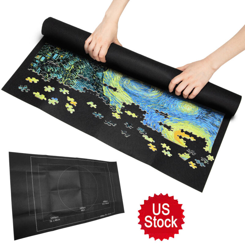 Hot! Jigsaw Puzzle Storage Mat Roll Up Puzzle Felt Storage Pad Up To 1500 Pieces