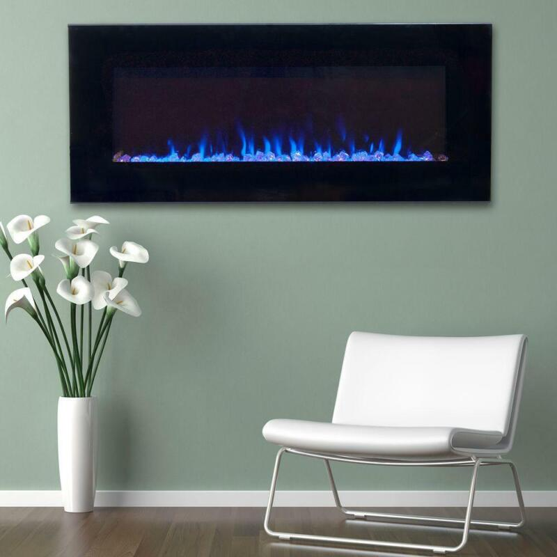 LED Fire/Ice Electric Fireplace, Remote, Black 42 in. Flame