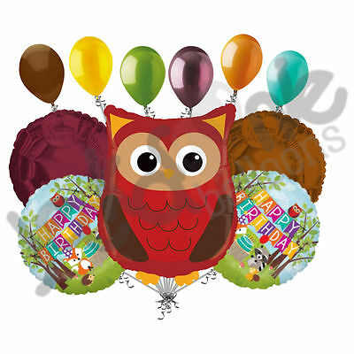 11 pc Woodland Owl Happy Birthday Animals Balloon Bouquet Party Decoration Woods