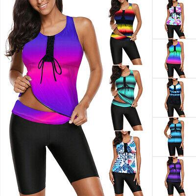 Women Gradient Tankini Sets Two Piece Swimsuit Swimwear Push Up Padded + (Two Piece Short Swimsuit)