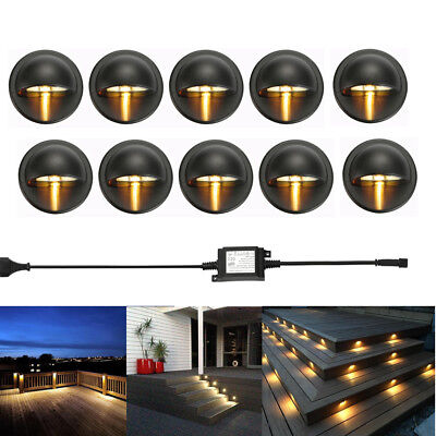 10Pcs LED Deck Step Stair Light-hearted Outdoor Landscape Yard Lighting Low Voltage Kit